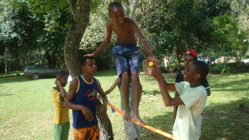 Slackline for youngsters.