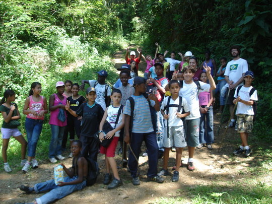 The group inside the forest