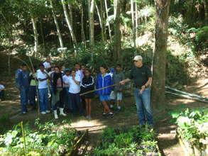 Students visiting the tree nursery
