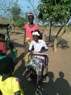 Patuma on her  new wheelchair