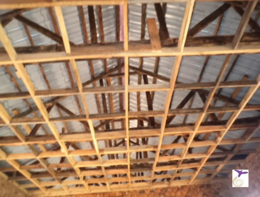 Boys Dormitory Ceiling Frame ready for plywood.