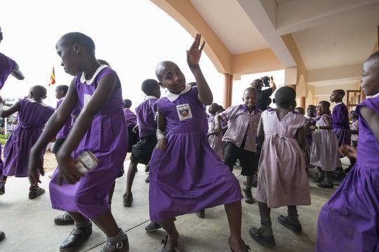 Students dancing at celebration