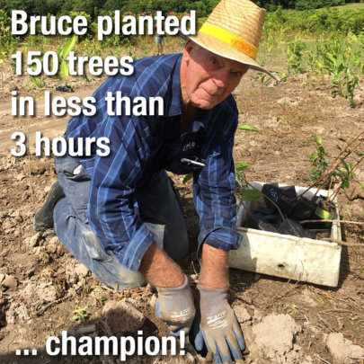 Volunteer Bruce after planting 150 trees