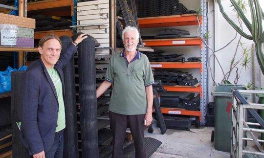 Prototype recycled tyre bollard