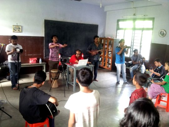 Recording of song with children