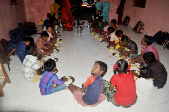 Provide dinner to underprivileged tribal children