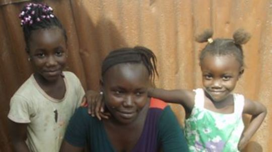 Isata Gbadoma and her children