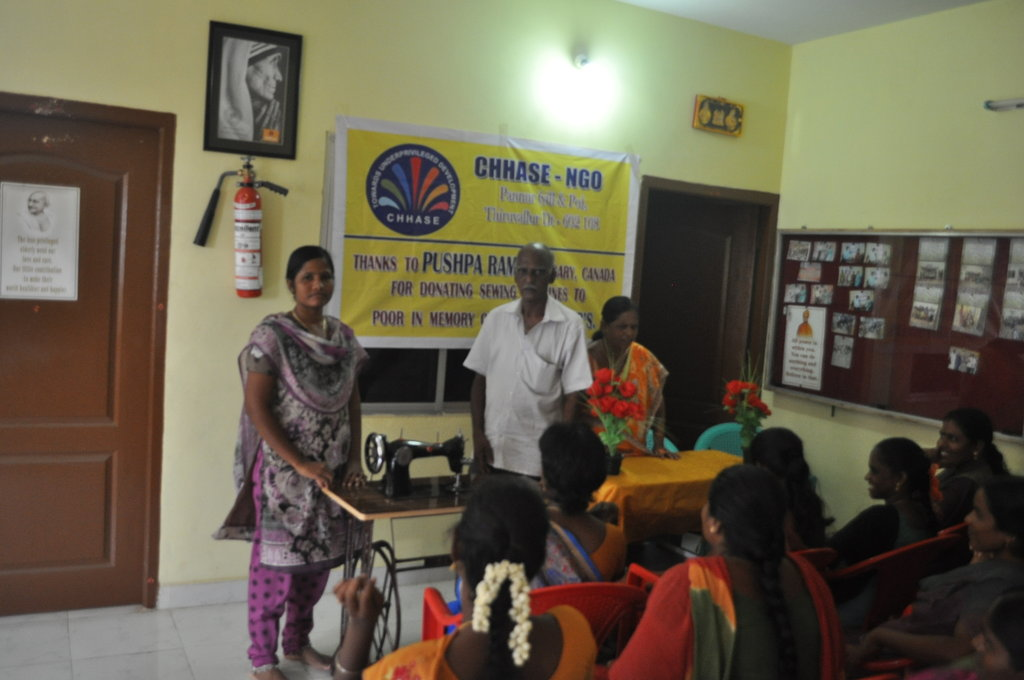Sewing machine to poor women to earn income