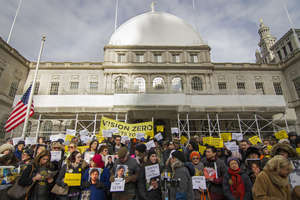 Rally for Traffic Justice at City Hall, Jan. 2015