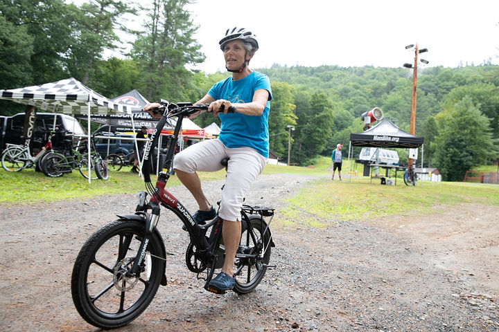 A rider testing out an e-bike at a demo day event