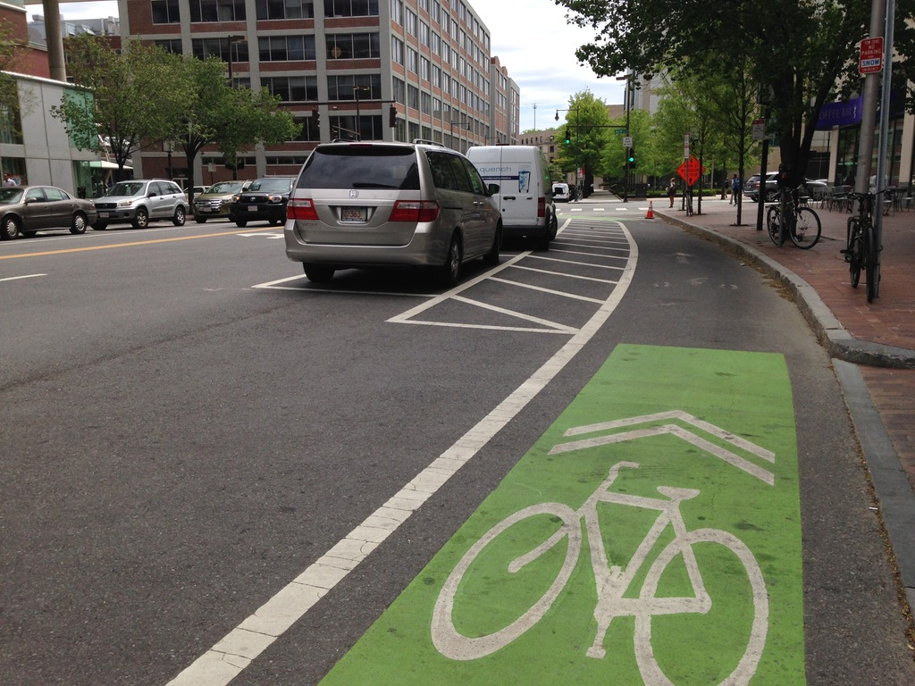 Pushing for more separated bike lanes, like this!