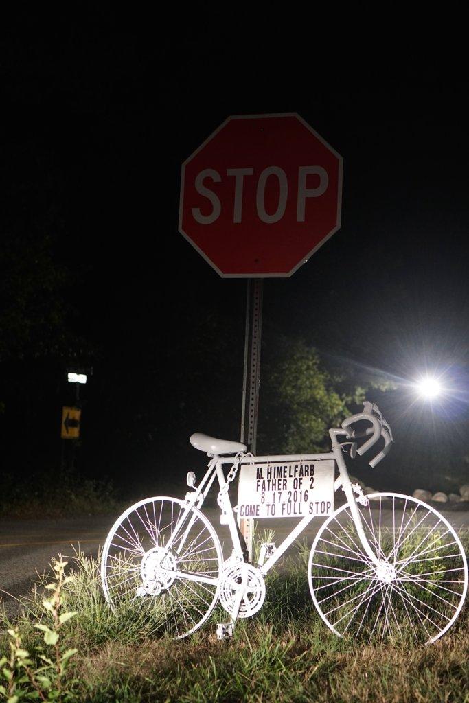 A ghost bike in Lincoln, MA