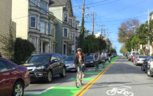 The center-running bike lane on Page Street