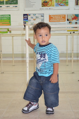 Matias trying on his new little leg!