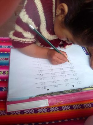 girls do lessons at home..learning to write