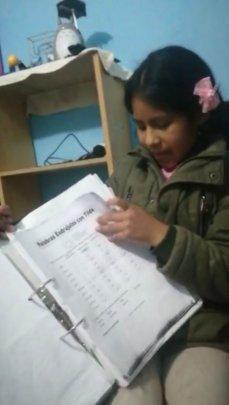 Felicidad shows her work in one subject