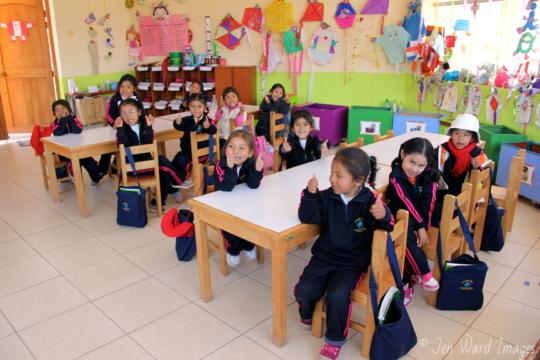 Kindergarten girls always excited about school