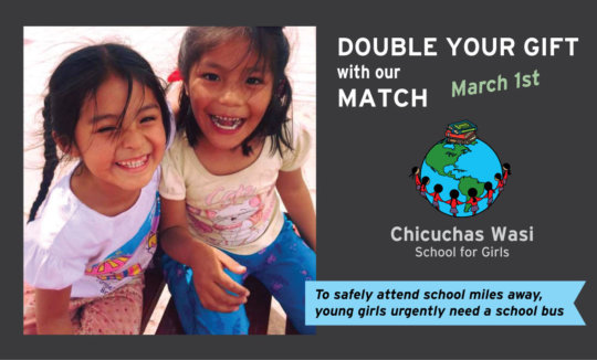 Donor created a $5000-100% MATCH for CW school bus
