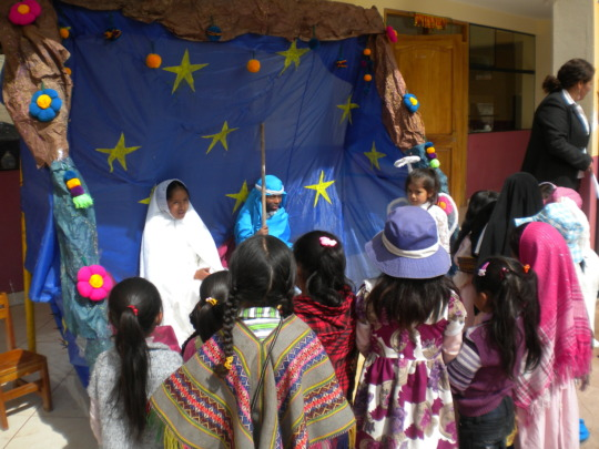 Christmas scene acted out by students each year
