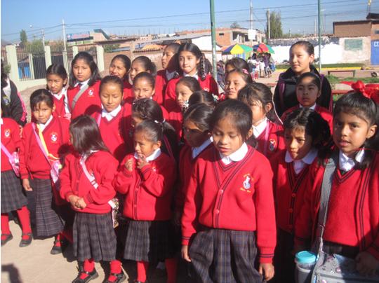 Sleepy students wait for the school van to school