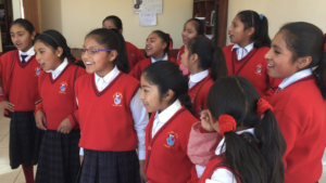 CW Girls singing in Quechua to new friends