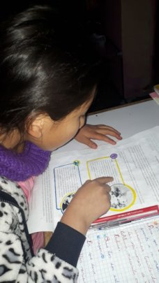 Reading lesson and gives comprehension written
