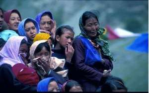 Women in traditional dress in Spiti, Himachal Prad