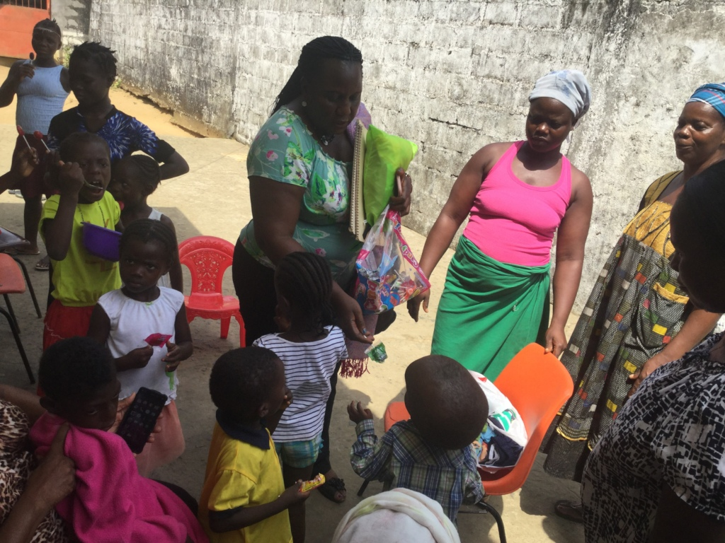 Children receiving sweets