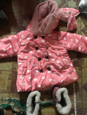 A young girl's donated winter jacket