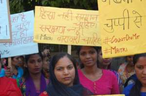 Community women take to the street for a rally