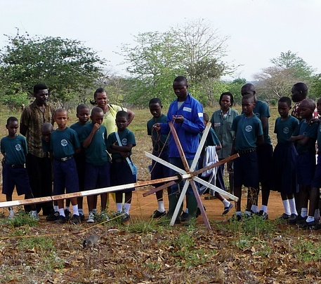 A HeroRAT shows off his skills to school kids