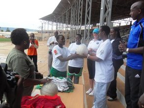 Young girls were given prizes by AKWOS after game