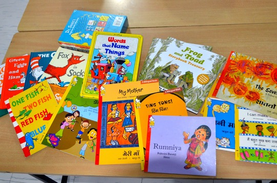 Bright, colorful story books ready for use