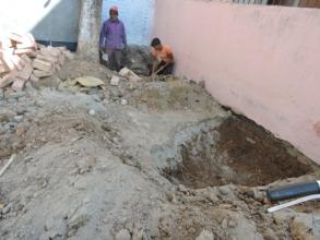 Construction work at Jagdish Bagla