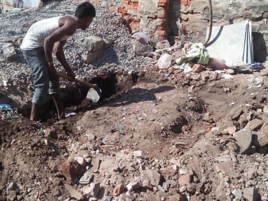 Construction for bio-toilet at Mithu Garage