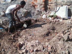 Construction for bio-toilet at Mithu Garage