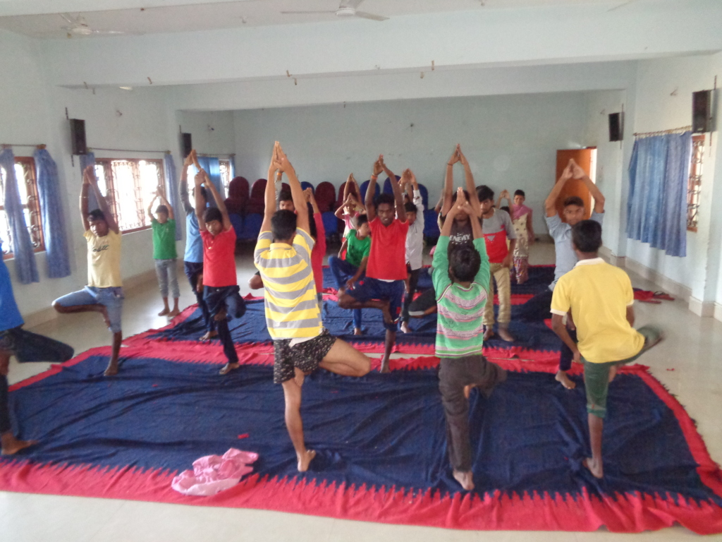 Children while doing Yoga Practice