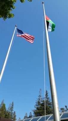 American and Palestinian flags in Santa Clara