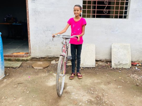 Anushka with her bike