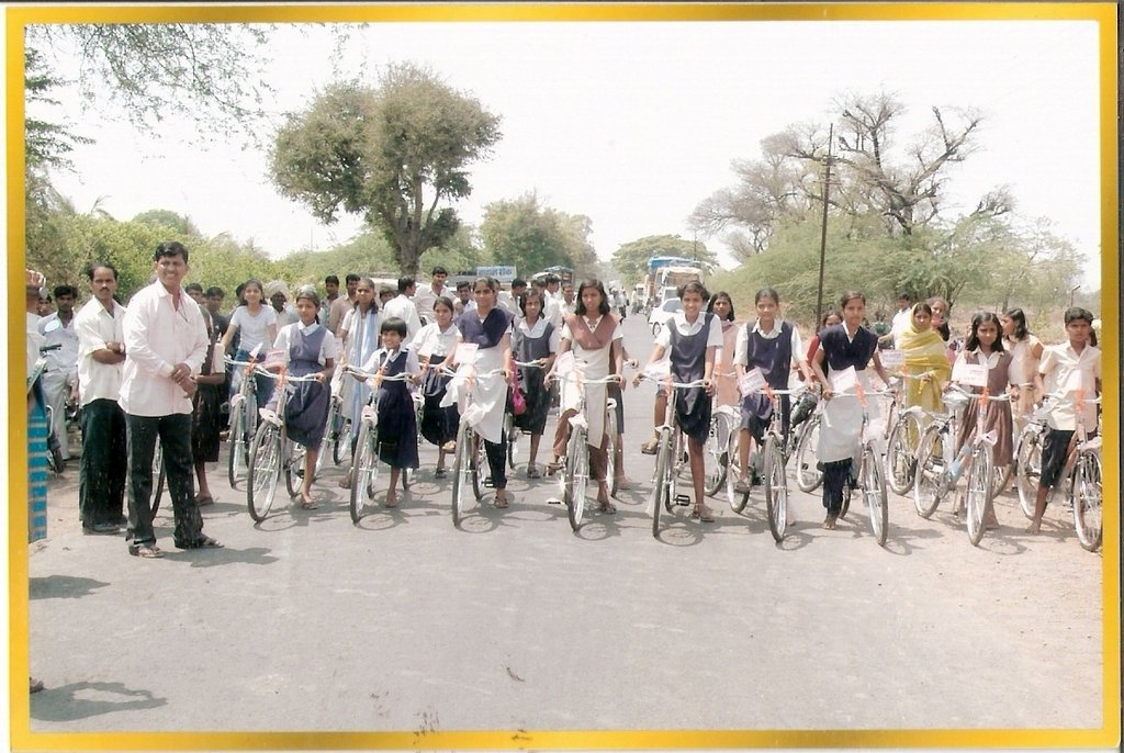 Bicycles donated to the school girls in Mhaswad