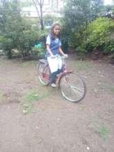 Shreya on her bicycle
