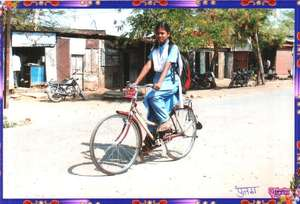 Poonam with her bicycle