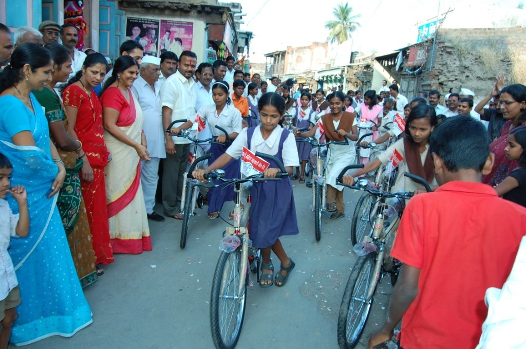 Bicycle donated to school girls in Mhaswad