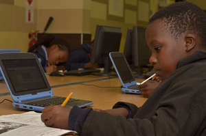 Grade 4 learner completing his Maths lesson