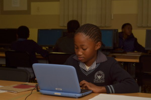 Mzamomhle learner doing Maths Curriculum Online