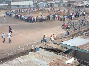 Street soccer pitch in Huruma slums.