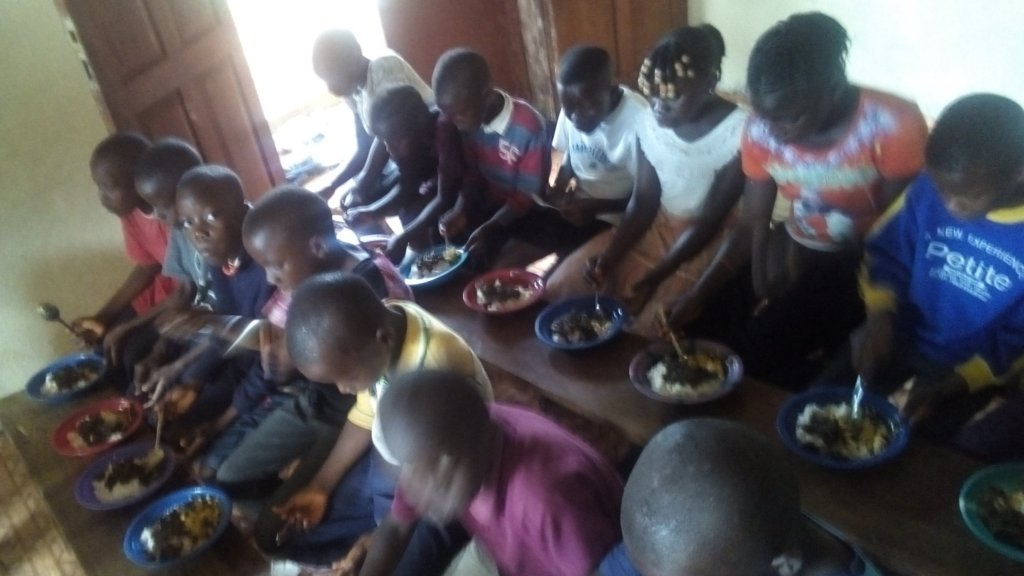 Children at first meal