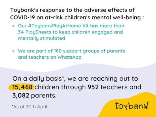 Toybank's #PlayAtHome kit's outreach