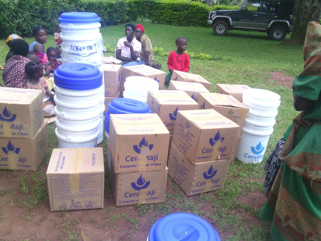 Water distillers for distribution at the site