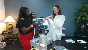 In class training on how to use a cryotherapy gun